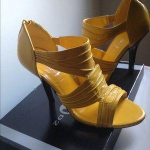 Womens Yellow High Heel Sandal Back Zipper